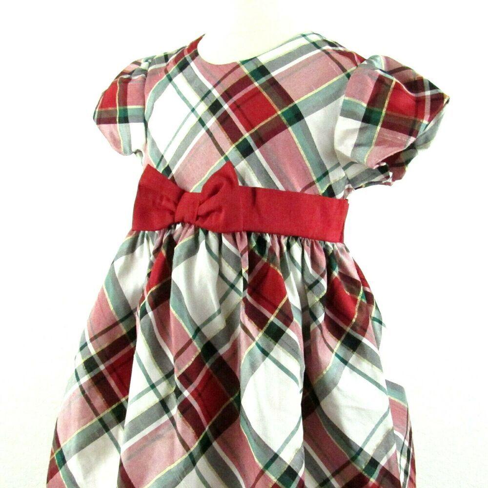 Gymboree Christmas Dress 5T Toddler Girl Red White Green