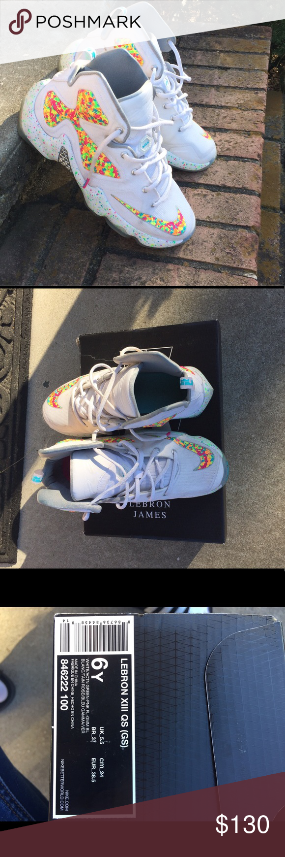 665321372882 Lebron 13 fruity pebbles size 6y Good preowned condition A few scuff marks  but other than that it s in great condition. 100% authentic comes with box  Nike ...