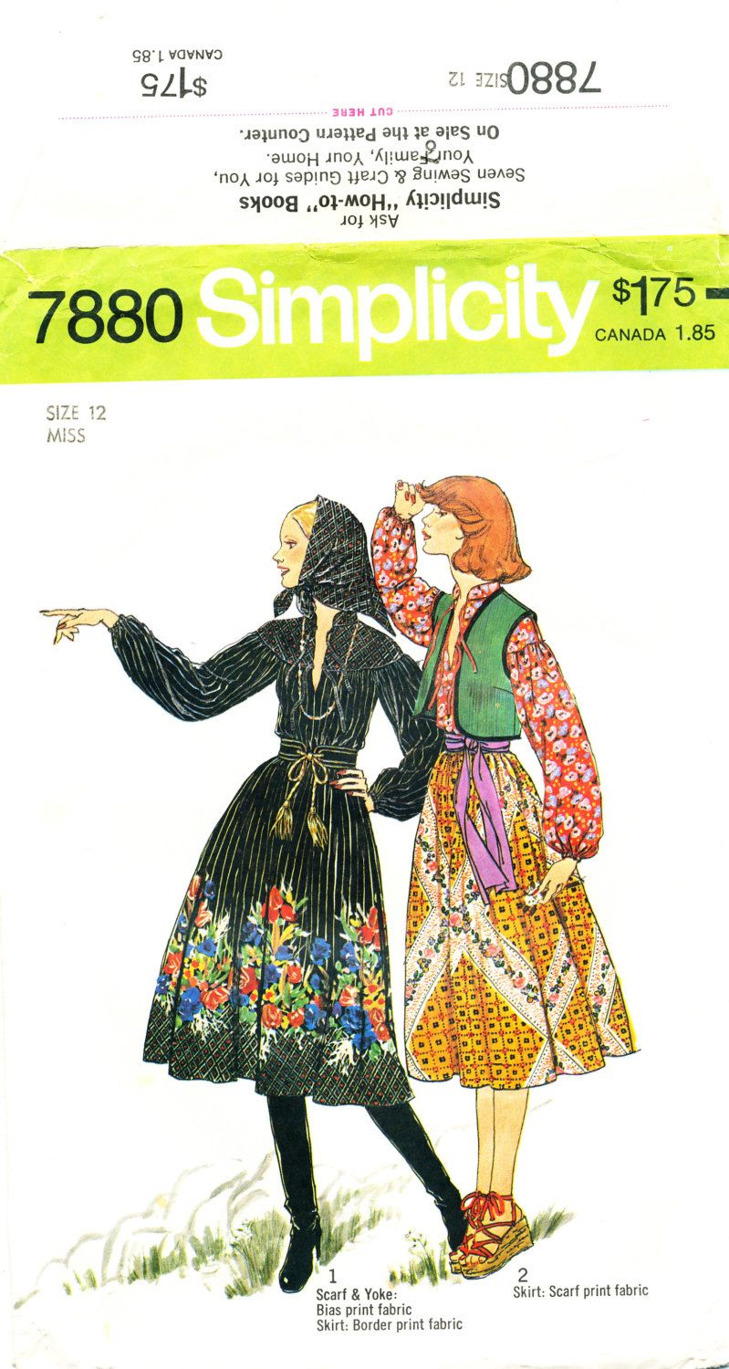 Simplicity 7880, Misses Blouse, Vest, Skirt, Scarf, Size 12, bust 34, Peasant Costume, Halloween Costume by MySewingChest on Etsy