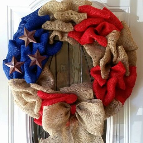 Military inspired burlap wreath by Johanna Nuno