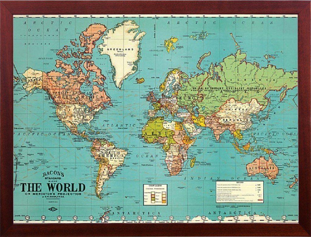 Amazoncom Push Pin Map World Map Decorative Vintage Parchment - Us parchment map