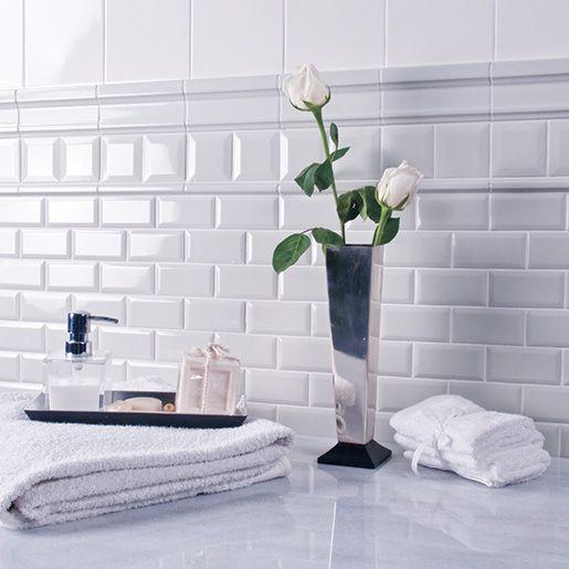 Bevelled Kitchen Wall Tiles: Ceramic White 3 X 6 Adex Hampton, Crackle Beveled Wall