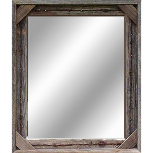 Barnwood Framed Bathroom Mirrors cornerblock barnwood mirror with barbed wire- 36x48