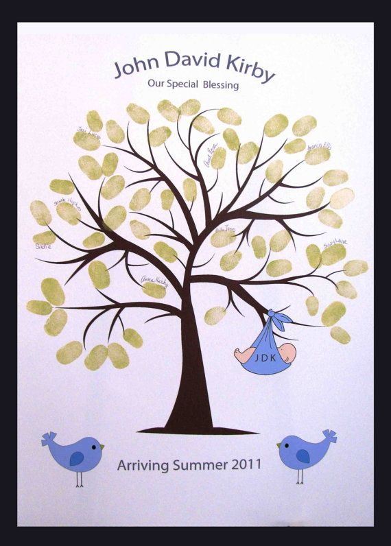 Beautiful Baby Guest Book Alternative, Sweet Swirly Guestbook Thumbprint Or  Fingerprint Tree With Baby And Birds, Baby Shower