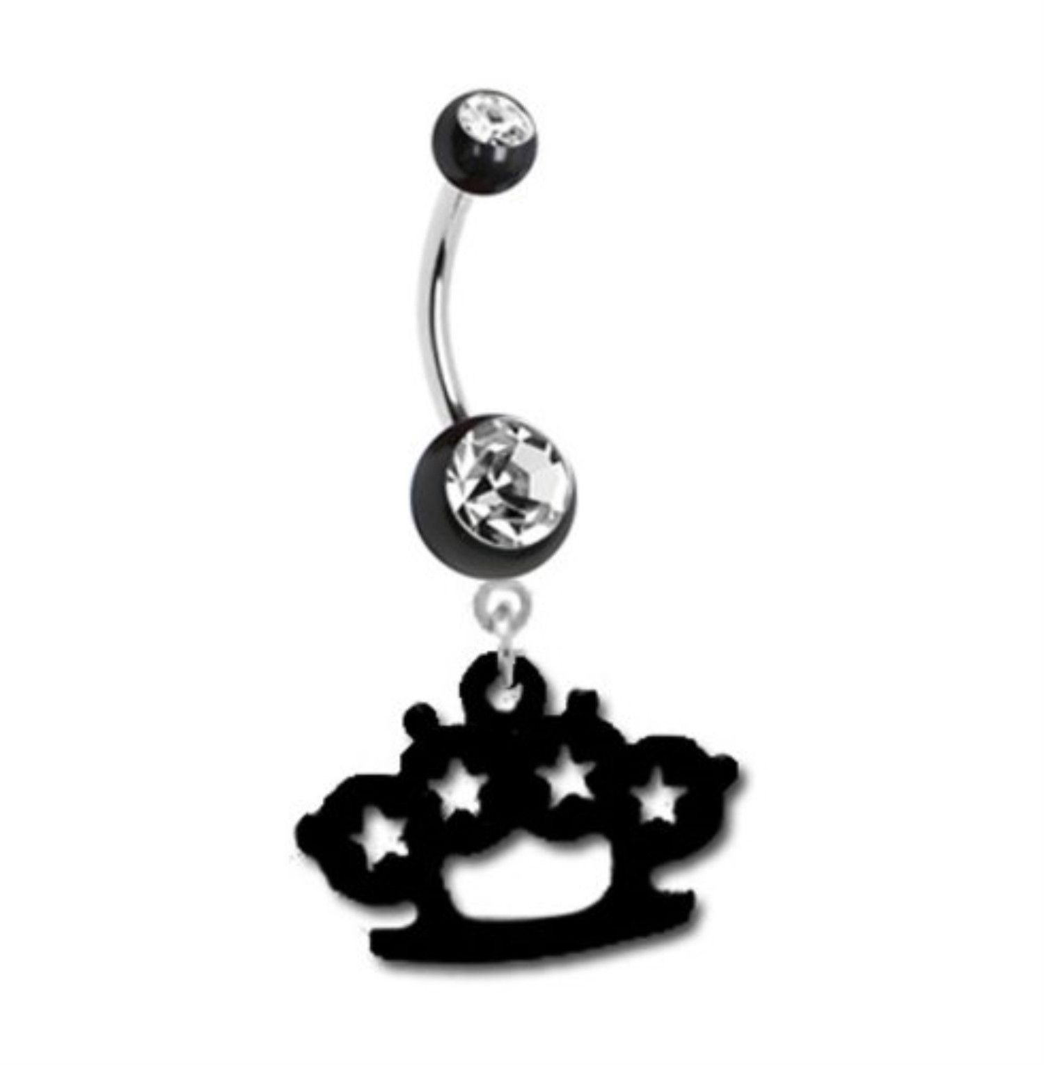 Black around belly piercing  Belly Ring Brass Knuckle Belly Button Ring Gem Crystal Black Color