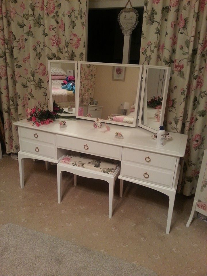 Stag dressing table, mirrors and stool in our lovely mum and dads