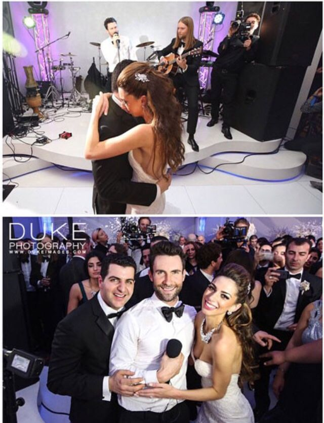 Over the weekend, Maroon 5 crashed a few weddings in Los Angeles and performed for the newlyweds and their guests while filming their new music video for 'Sugar'. Photos from E! News.