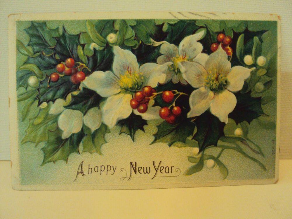 Antique Greeting Card Seasonal Postcard A Happy New Year 1908 Mistletoe HH Co. #NewYear