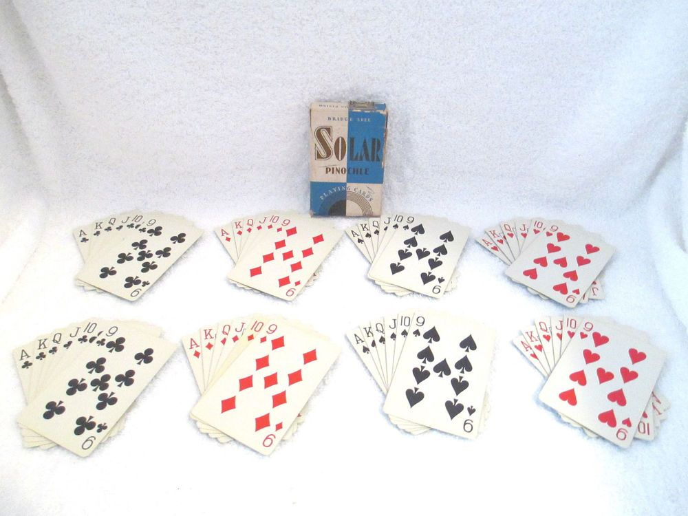 Vintage Solar Pinochle Playing Cards Complete Deck Blue Flash Camera Backing