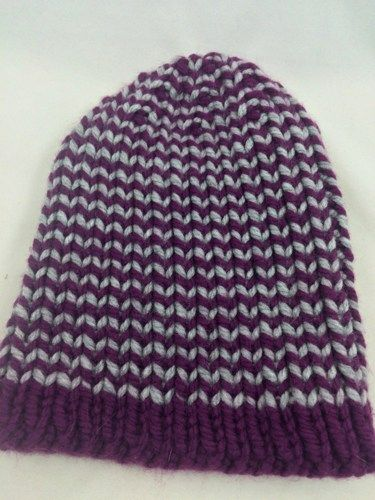 #Hat #Beanie Striped #Purple #Gray Mens Womens Bernat Softee Chunky yarn | jazzitupwithdesignsbynancy @ntonelli #knitting #ckdin