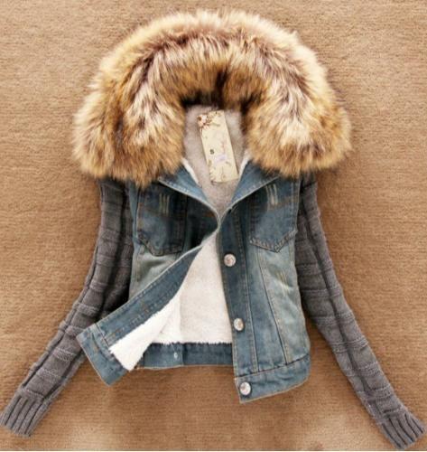 Jeansowa Bluza Damska Kurtka Ocieplana Futerko 36 5104582879 Oficjalne Archiwum Allegro Denim Jacket Women Denim Coat Jacket Denim Women