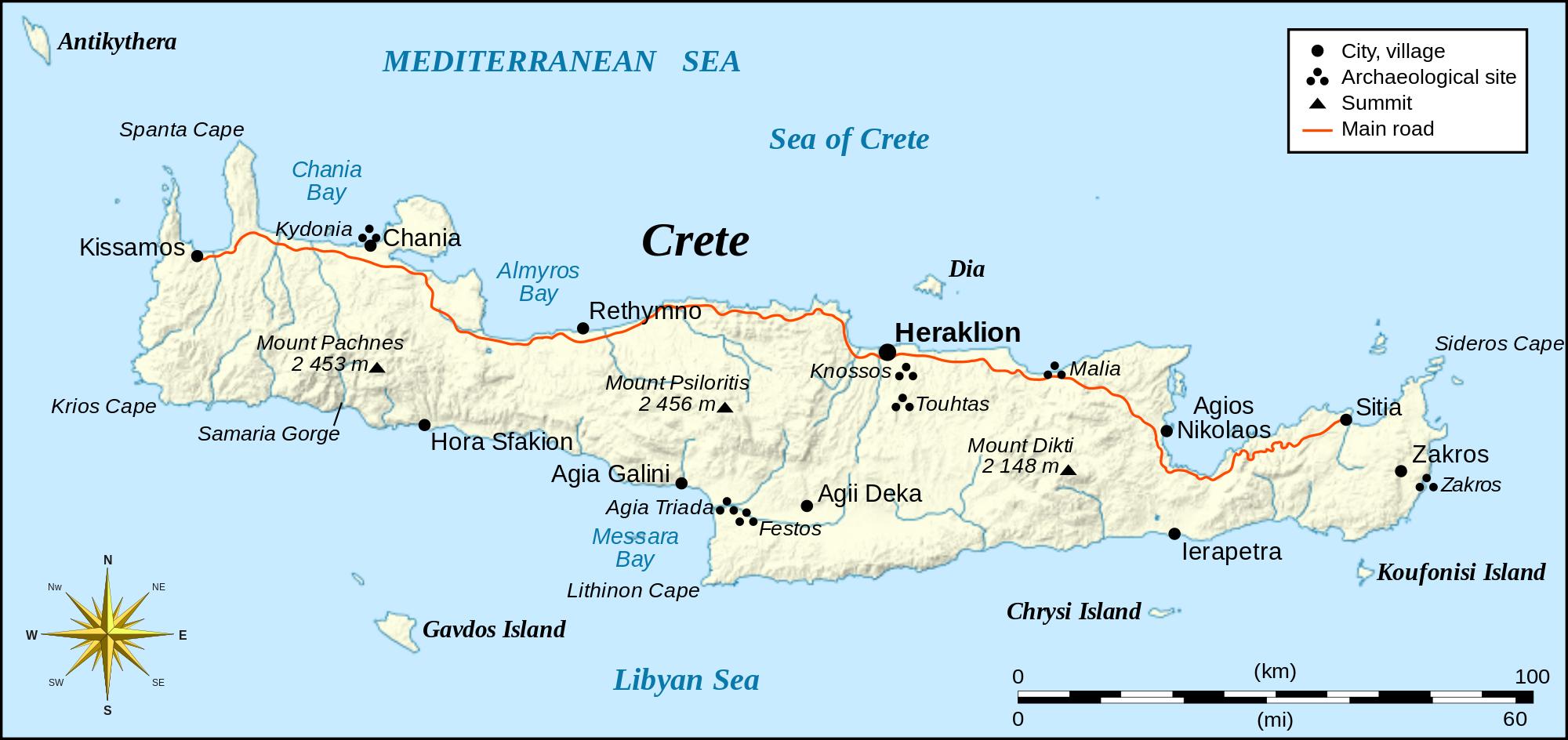 Crete Greece Map Island Map of Crete, Greece | ISLANDS ~Miles of Isles | Crete map, Crete