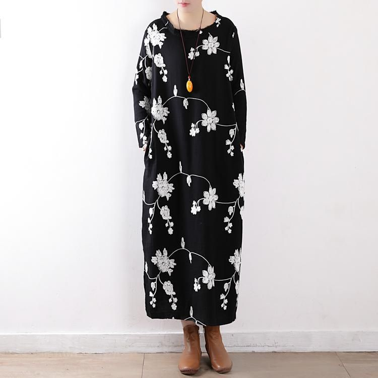 bce581bd4d03 Loose Round Neck Embroidered Cotton Dress in 2019 | Winter/Autumn ...