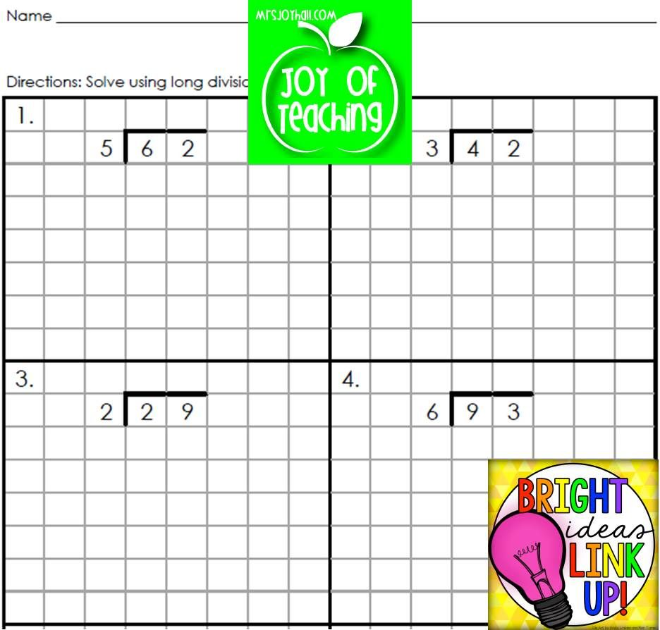 Genius Long Division Problems On Grid Paper To Help Kids Keep