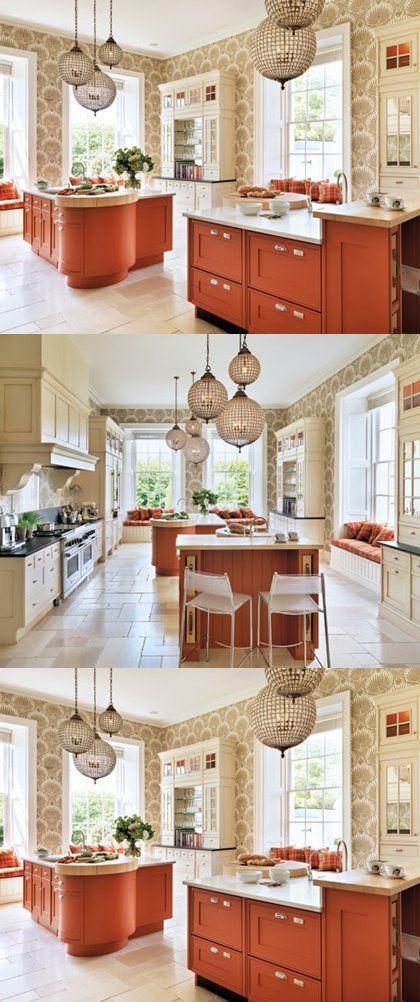diseno de cocina clasico en color blanco y mandarina con molduras ...