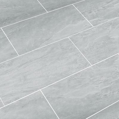 Snapstone Oyster Grey 12 In X 24 In Porcelain Floor Tile 8 Sq Ft Case 11 043 04 02 The Home De Porcelain Flooring Kitchen Floor Tile Grey Floor Tiles