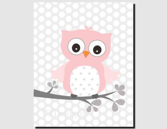 Owl Bathroom Wall Art for Kids Pink Gray Girl van vtdesigns op Etsy