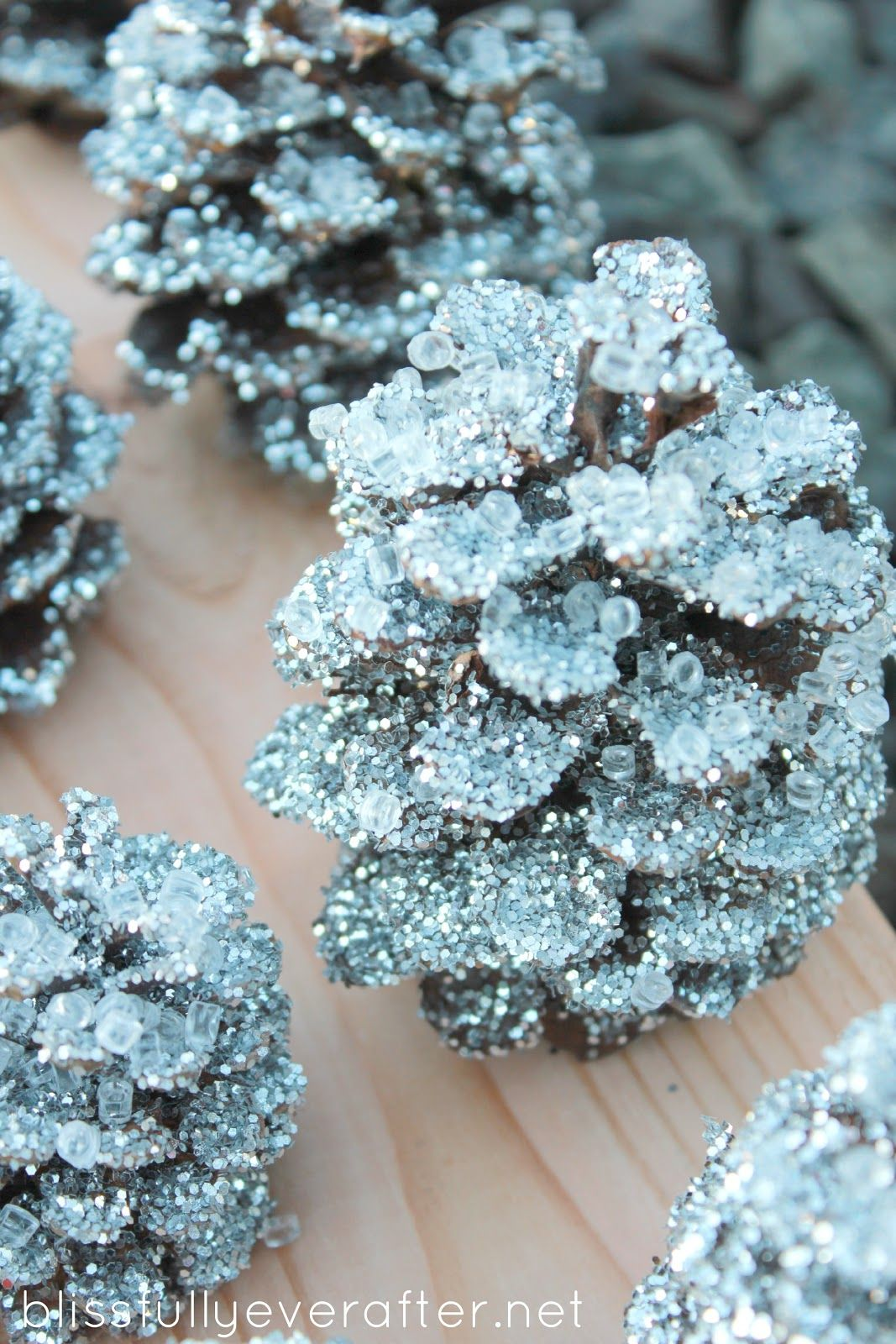 Pine Cone Craft Ideas For Christmas Part - 41: Knockoff Pottery Barn Glitter U0026 Snow Pinecones - Blissfully Ever After