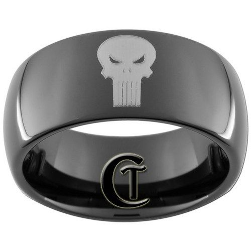 9mm Black Dome Tungsten Carbide Punisher Ring Size 3 17 Shops