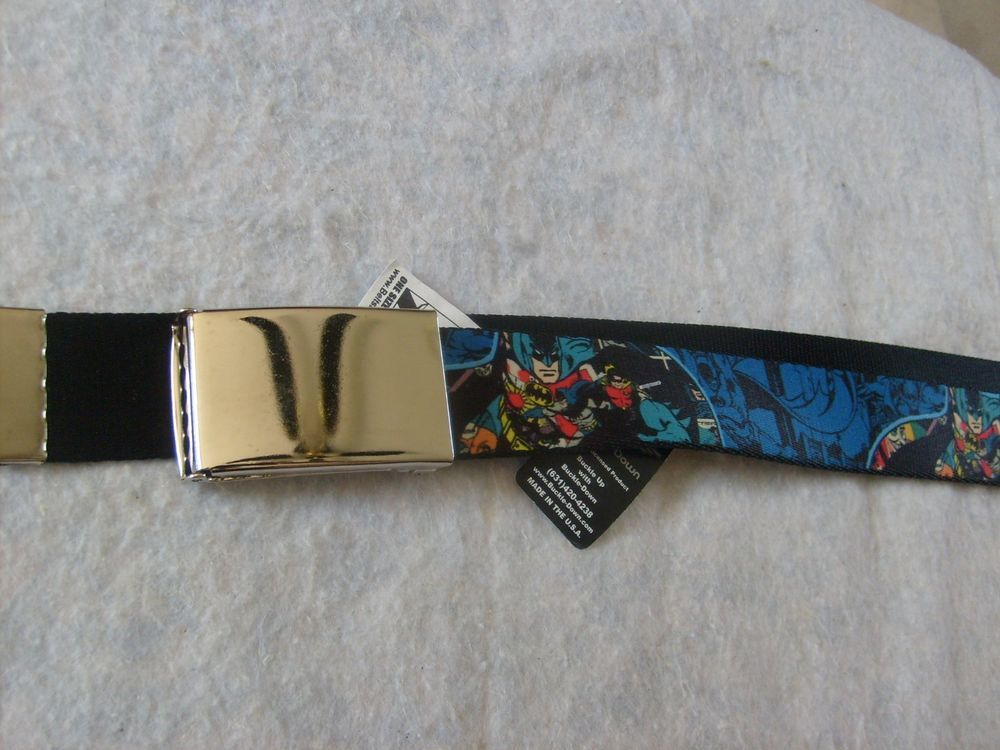 BATMAN DC SUPERHERO BUCKLE DOWN SEAT BELT STLEL ADJUSTABLE POLYESTER  BELT OSFM #BUCKLEDOWN