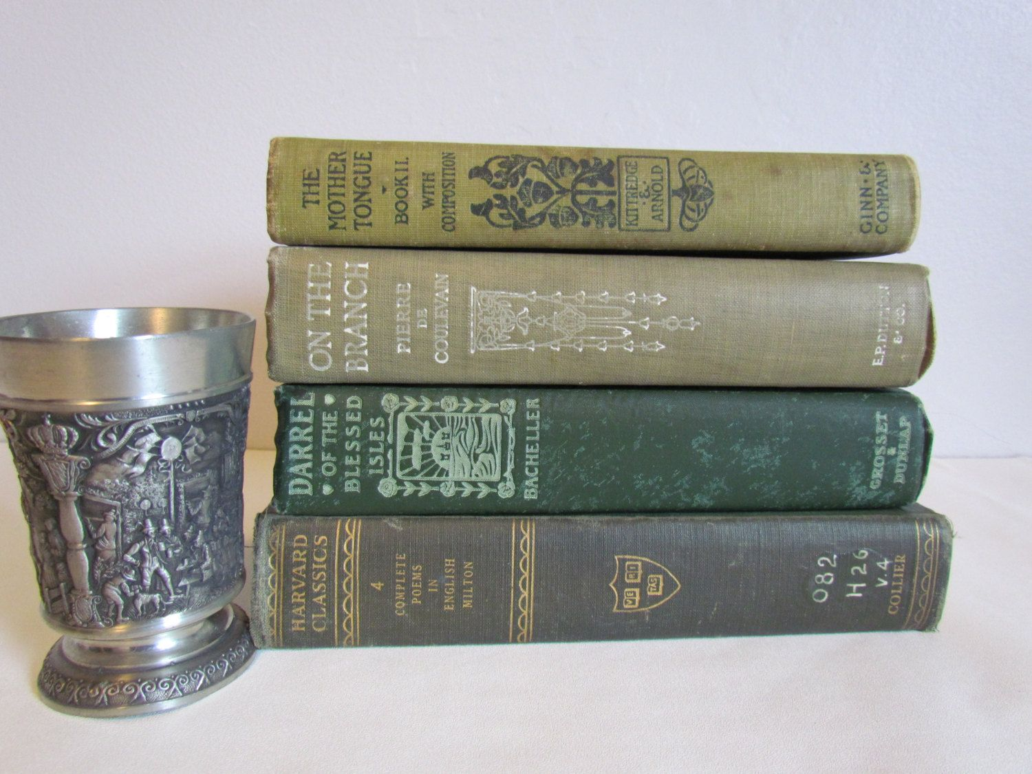 Green Vintage Old Book Set Decorative Stacked Books Antique Stacks Photography Props Stack Of Wedding Coffee Table Decor By Kozykitchy On Etsy