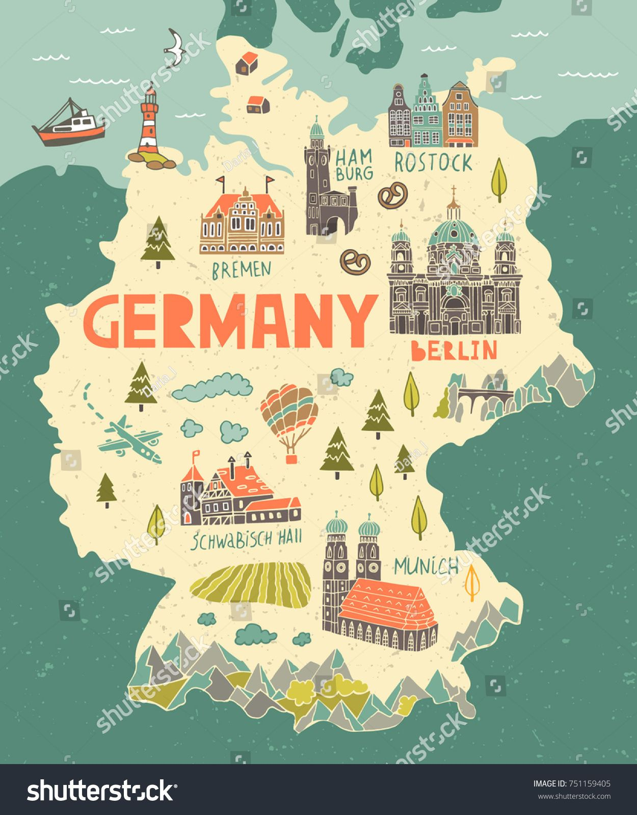 Illustrated Map Germany Travel Attractions Stock Vector (Royalty Free) 751159405