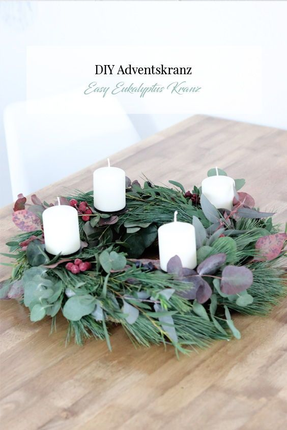 Photo of DIY eucalyptus wreath & advent wreath fen elven white