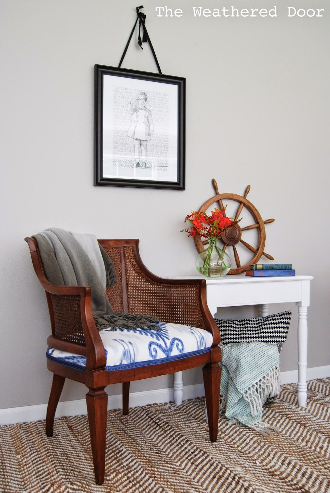 The Weathered Door Cane Chair Makeover With Blue And