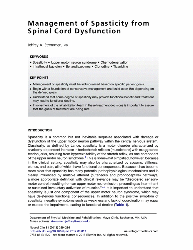 Management Of Spasticity From Spinal Cord Dysfunction  Spinal