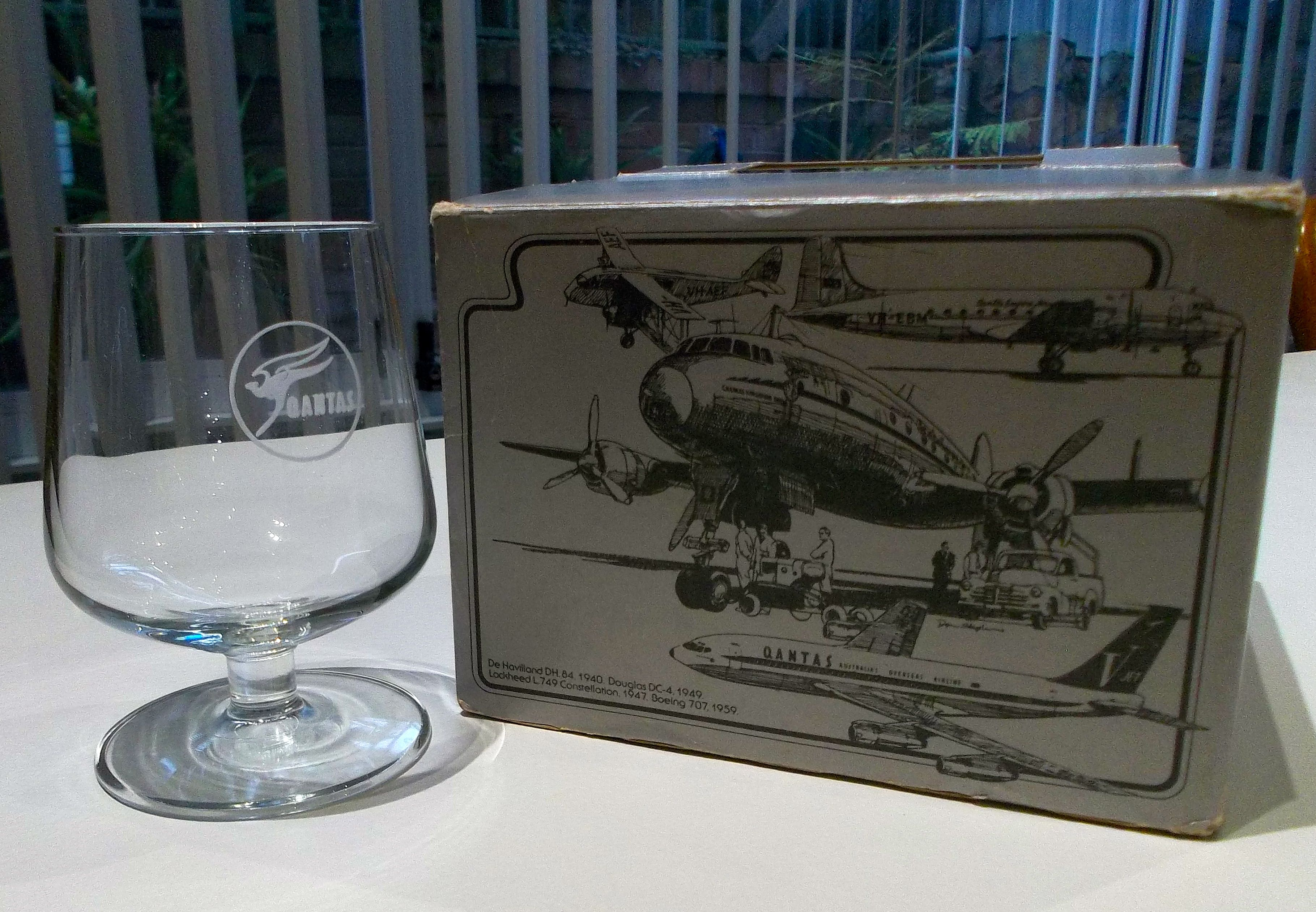 Qantas 707 Give away box set of 4 glasses