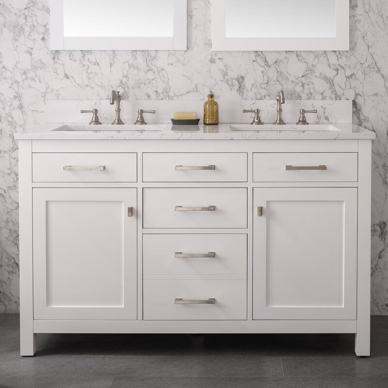 Atencio 54 Double Bathroom Vanity Set Double Vanity Bathroom Double Bathroom Vanity Bathroom Vanity 54 inch bathroom vanity double sink