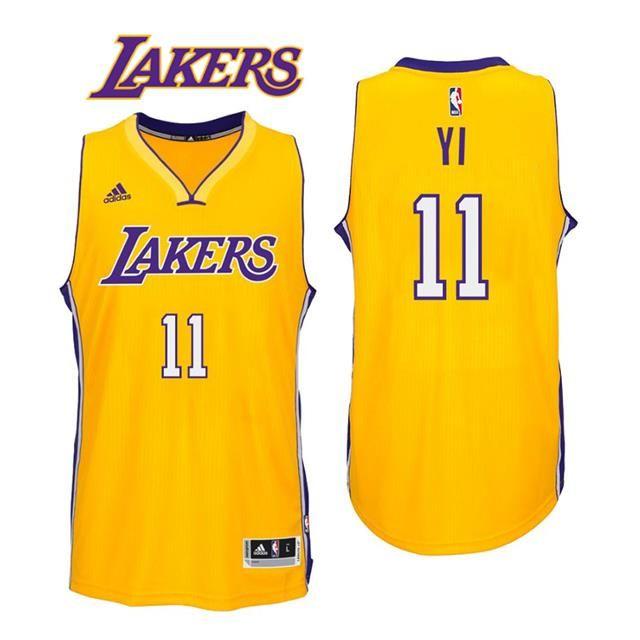 a31c5e892fd Los Angeles Lakers #11 Yi Jianlian 2016-17 Home Gold New Swingman Jersey