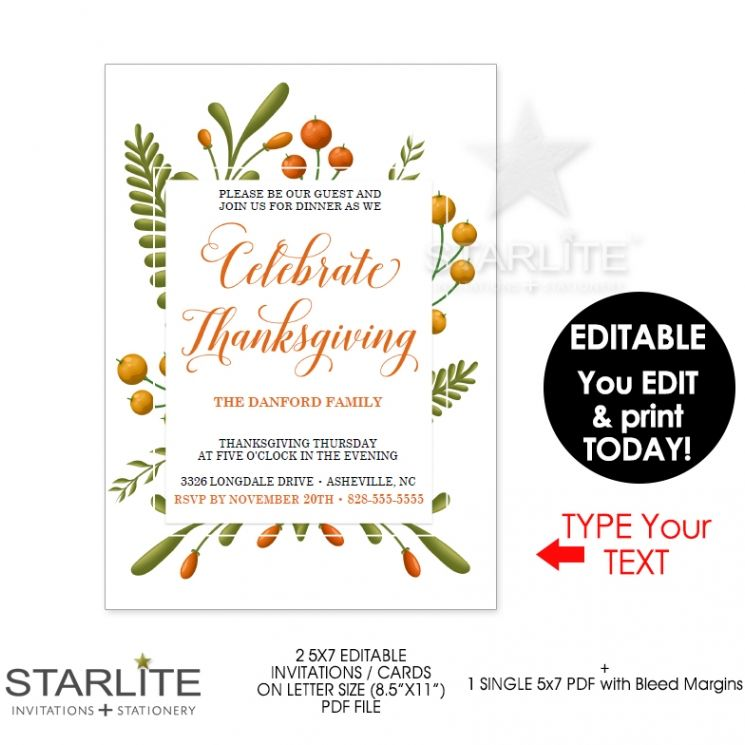 Thanksgiving Invitation Fall Foliage EDITABLE INSTANT DOWNLOAD