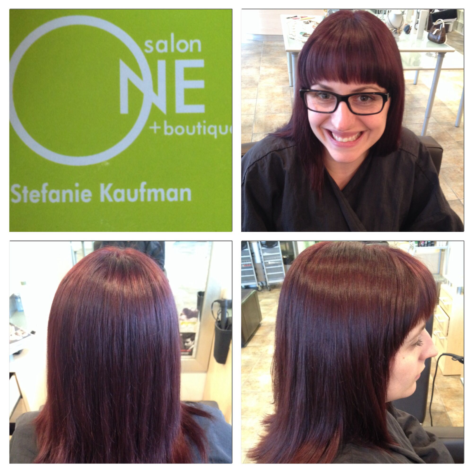 Purple mahogany hair with a blunt bang. Organic color systems ...