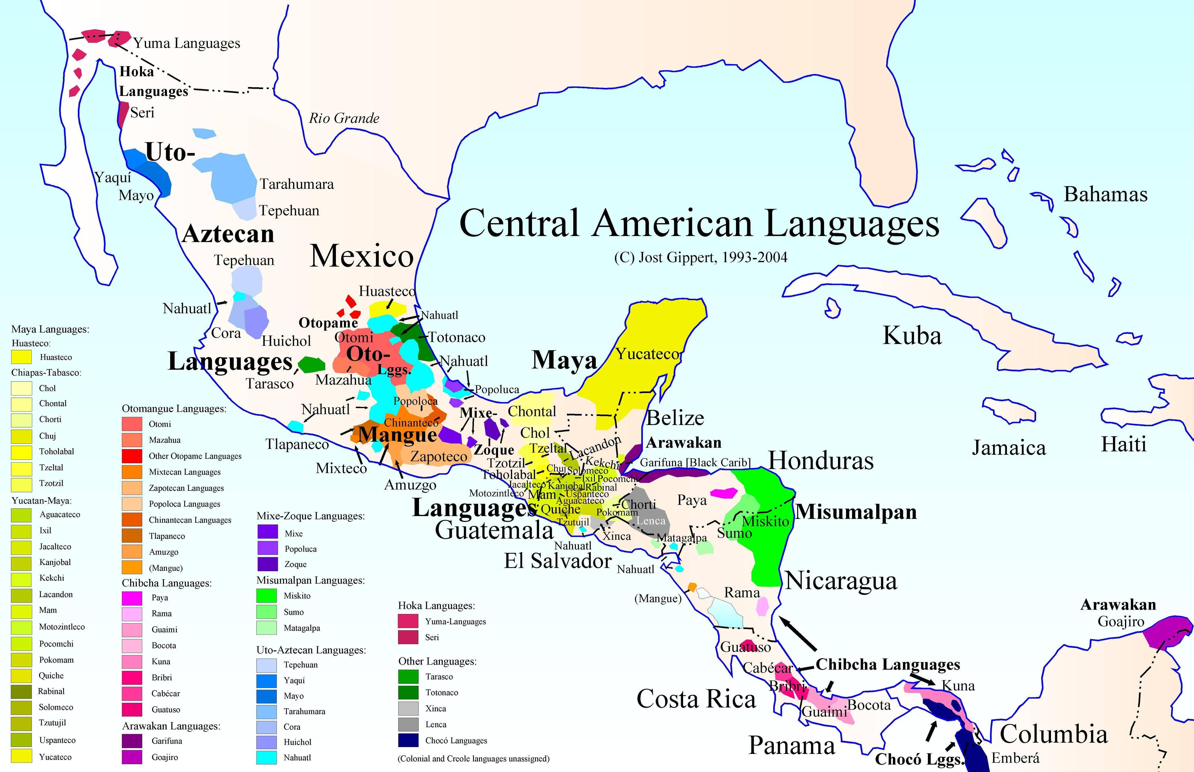 Indigenous Language Map Of Central America