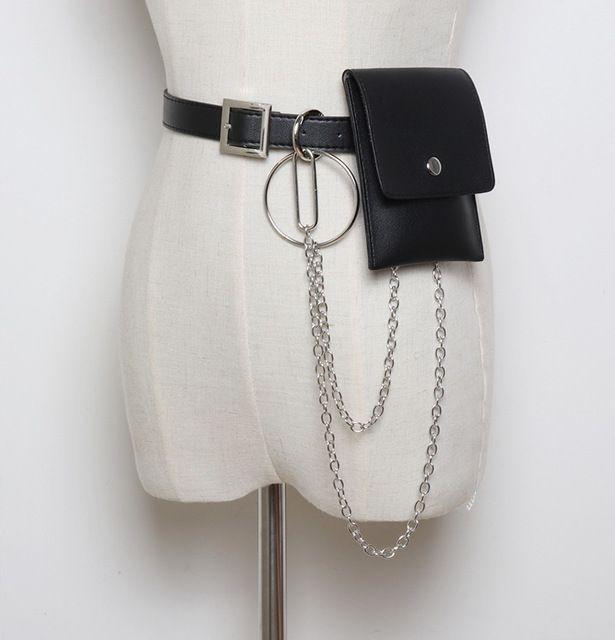 Diinovivo women waist bag leather chain bags fanny pack waist belt bag hip bum pouch phone bags whdv0661 #chainbags