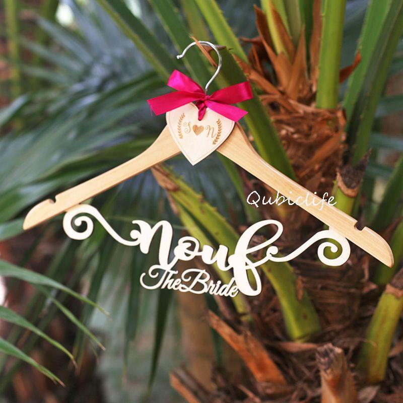 Personalised wooden wedding hangers , Rustic Wedding Dress Hanger ...