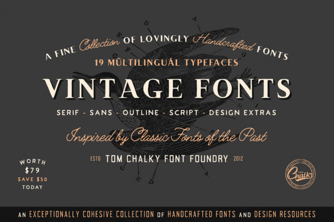 Download Vintage Font Bundle Main Preview Image | Vintage fonts