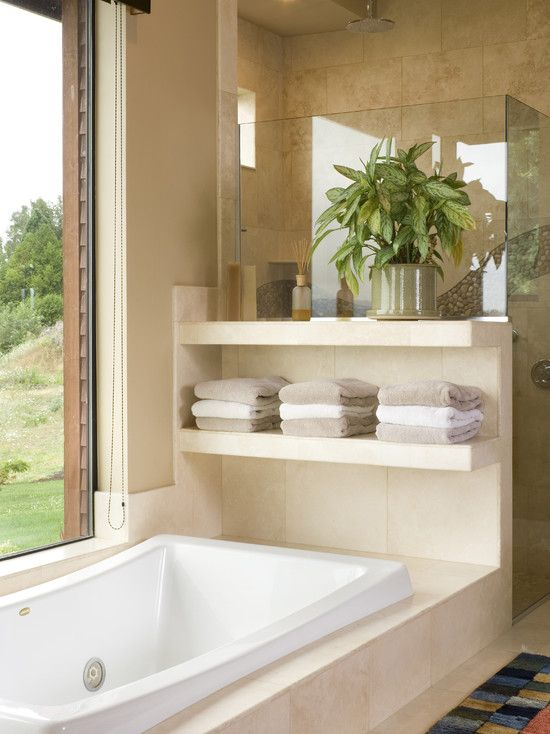 Half Wall Between Tub And Shower, For Better Storage! Must Have The Master  Bathtub In Front Of A Nice Window. Neat Shelf Idea Here Too