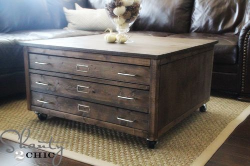 6 Drawer Library Coffee Table Diy Coffee Table Coffee Table With Wheels Pottery Barn Inspired