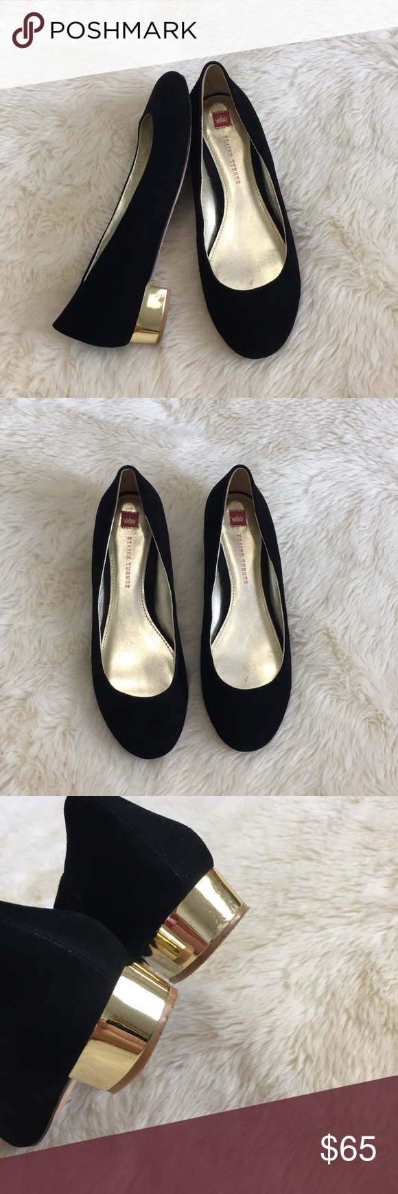Elaine Turner Black Suede Shoe With Gold Heel Elegant Pair Of Black Rounded Toe Shoes With A 1 Gold Heel The Insi Black Suede Shoes Gold Heels Suede Shoes