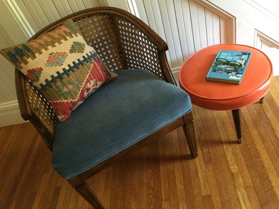 Mid Century Modern Cane Barrel Chairs Metoo Portable High Chair Reserved For Marilyn Armchair Midcentury Hollywood Regency Excellent Condition Tapered Leg Original Blue Velour Fabric Seat Retro Vintage