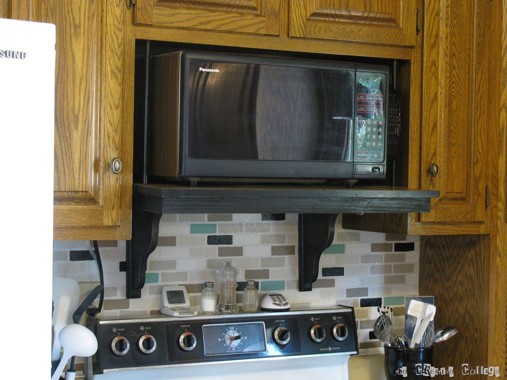 Microwave Shelf Update Microwave Shelf Over The Stove Microwave Kitchen Island Microwave