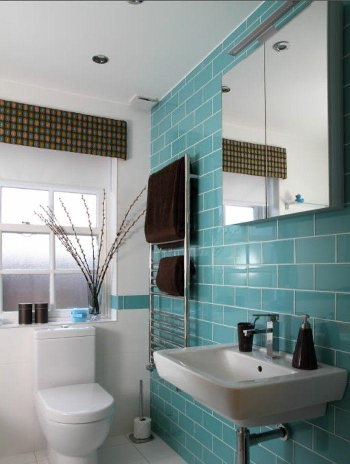 Accessoires pour salle de bain turquoise - Carrelage bleu turquoise salle de bain ...