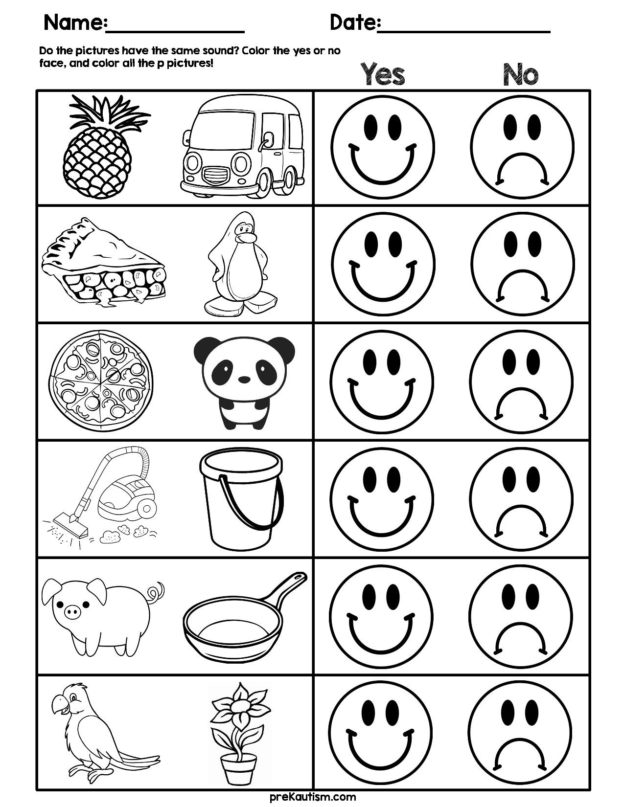 2 Initial Sound Matching Worksheets Consonant Sound Match
