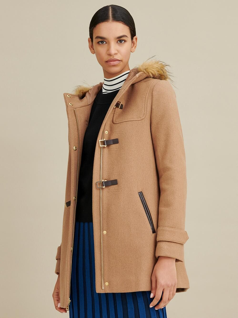 Wool Walker Coat with Toggles Hooded wool coat, Coat