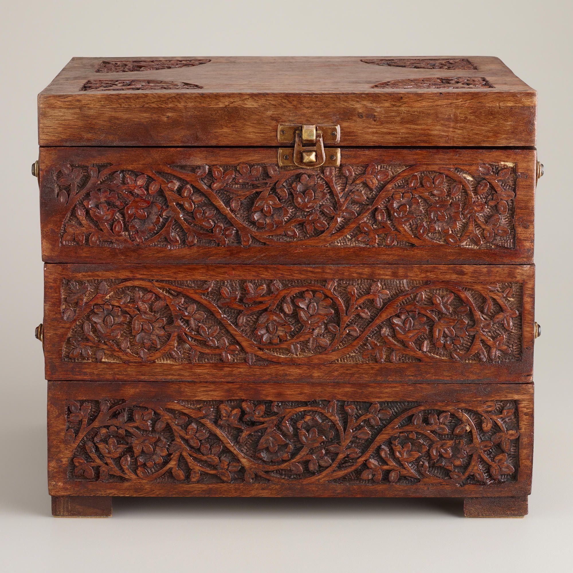 World Market Jewelry Box New Carved Wood Tiered Jewelry Box  World Market  Want  Pinterest Review