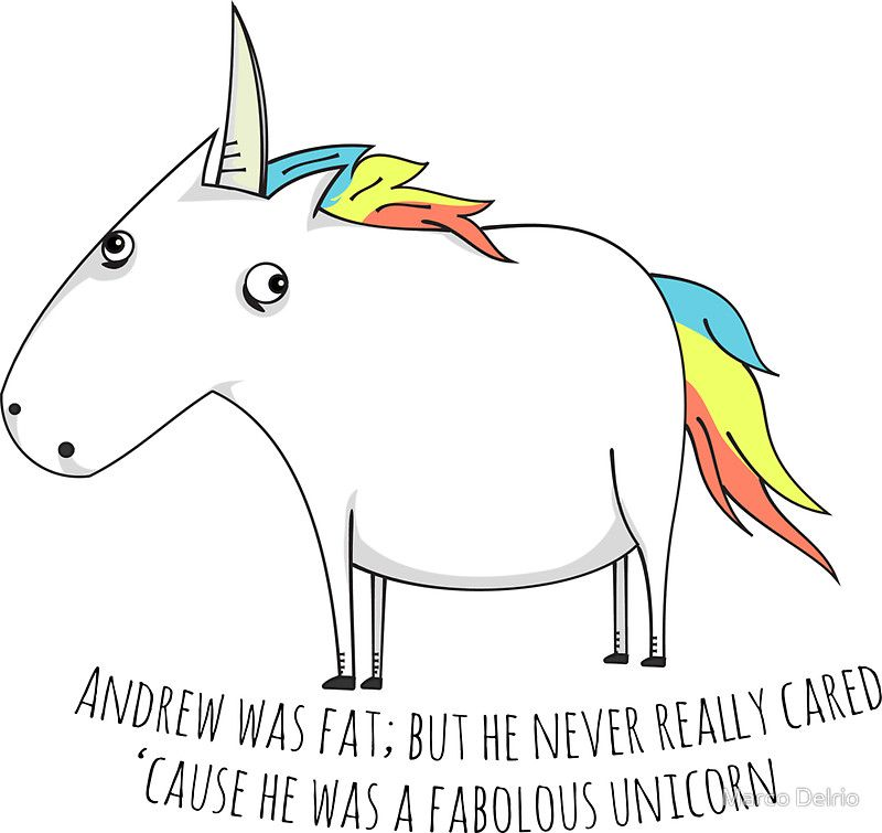 Andrew the fat unicorn sticker by marco delrio
