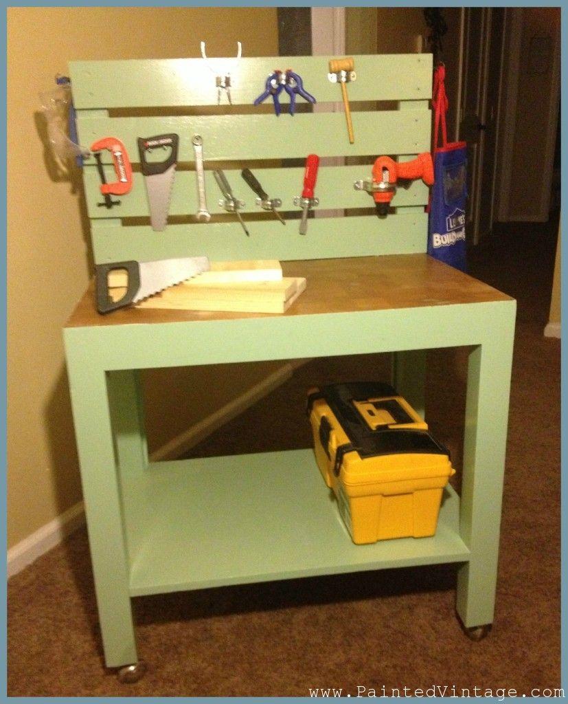 diy kids workbench by kindersachen pinterest werkbank kinder. Black Bedroom Furniture Sets. Home Design Ideas