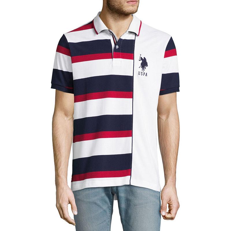 939c95981 U.S. Polo Assn. Embroidered Short Sleeve Stripe Pique Polo Shirt ...